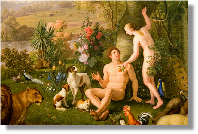 Adam and Eve enjoying dominion over nature