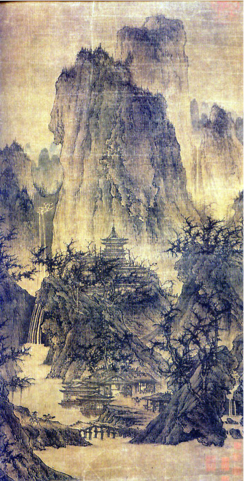 Traditional Chinese landscape painting shows humanity embedded delicately within nature