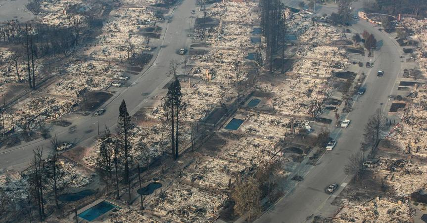 Devastation from California wildfires: perversely, this will have a positive impact on GDP © George Rose | Getty Images